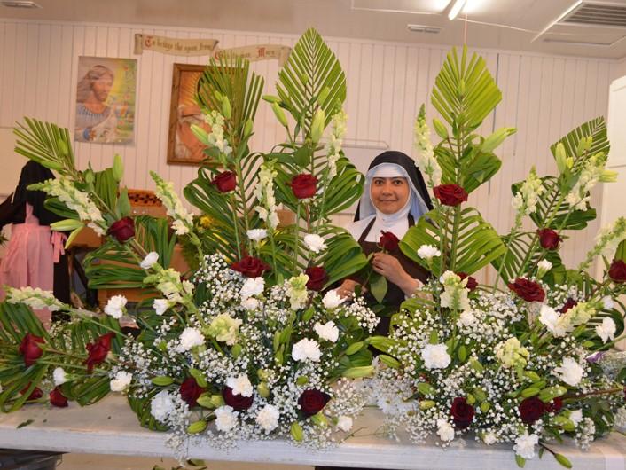 Sister-preparing-floral-arrangements